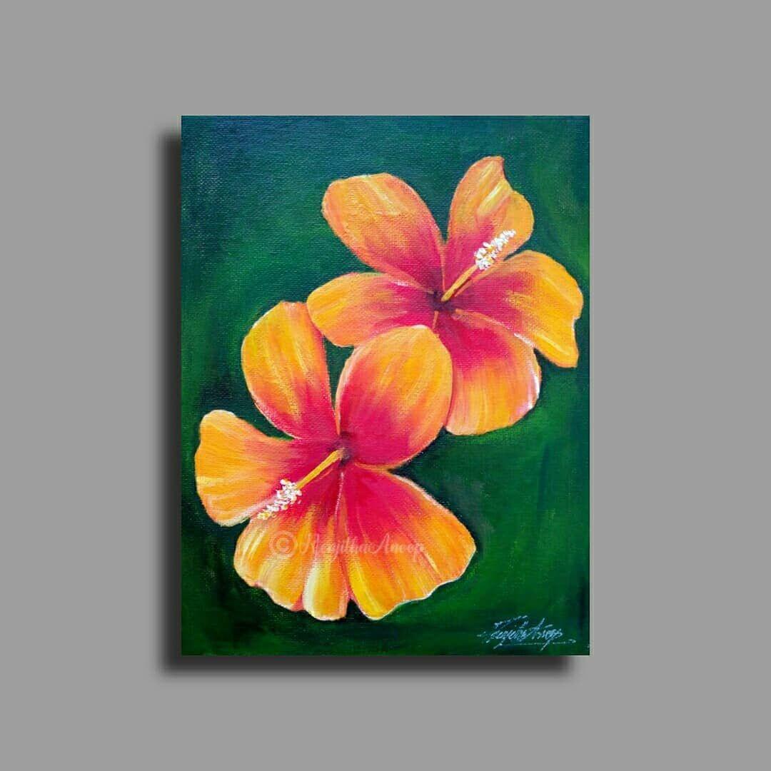 Renjitha Anoop On Instagram Simple Hibiscus Flower Punting On Canvas Board 7 8 Watch Flower Painting Canvas Flower Art Painting Acrylic Painting Flowers