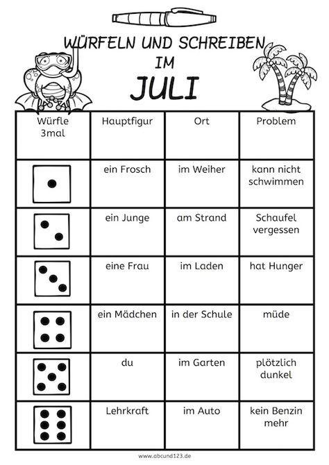 Würfeln und Schreiben im Juli, AFS-Methode, Arbeitsblatt, DAF, DAZ ...