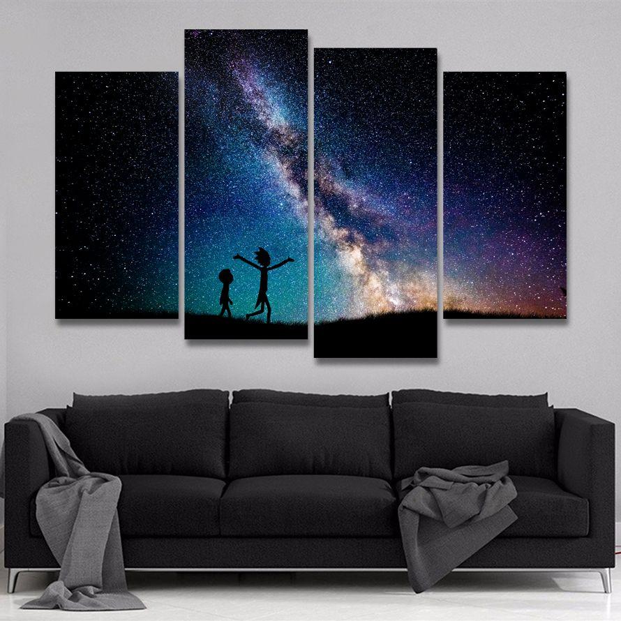 4 Pieces Rick And Morty Painting Modular Abstract Starry Sky Galaxy Canvas Photo Wall Decor Painting Canvas Wall Art
