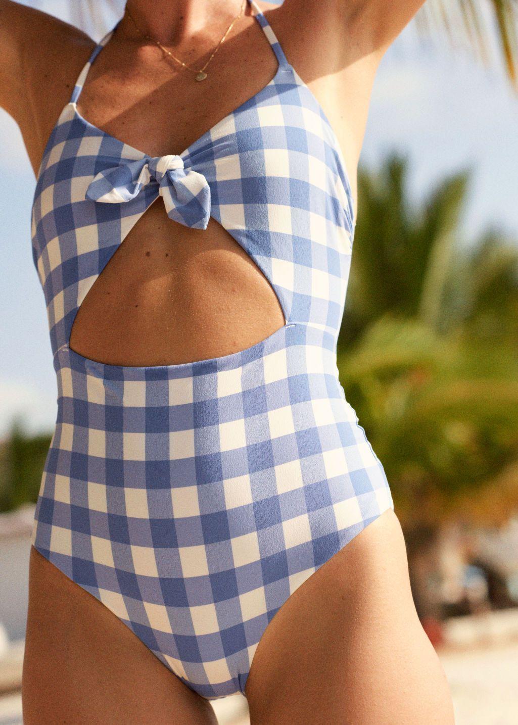 Gingham Cutout Halter Swimsuit Cute Swimsuits Cutout Gingham Halter Swimsuit In 2020 Swimsuits Halter Swimwear Yellow Swimsuits