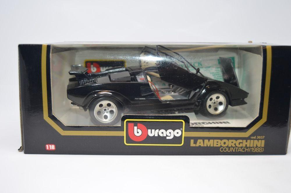 Bburago 1 18 Scale Diecast Model Car 3037 Lamborghini Countach 1988 Black Mib Burago Lamborghini Toy Car Diecast Sportscar