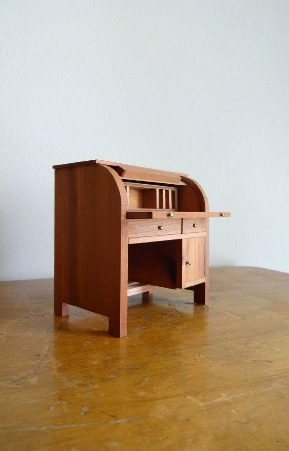 Vintage miniature wood Shackman dollhouse roll door TheMagickAttic