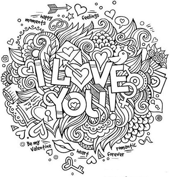 I Love You Zentangle Coloring Page With Images Love Coloring