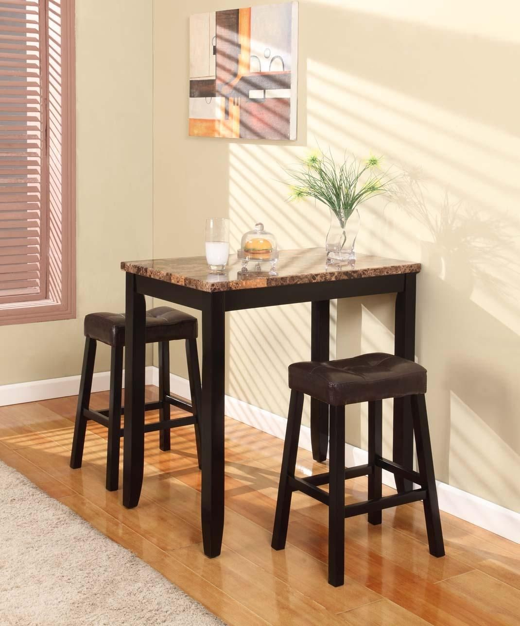 Beautiful 3 Pc Counter Height Glossy Print Marble Breakfast Table With Stools   The  Table Features A Contemporary Marble Look Veneer Table, Dark Brown Finish  Legs, ...