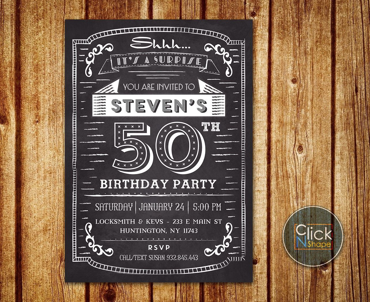 30th 40th 50th 60th Birthday Invitation For Man Adult