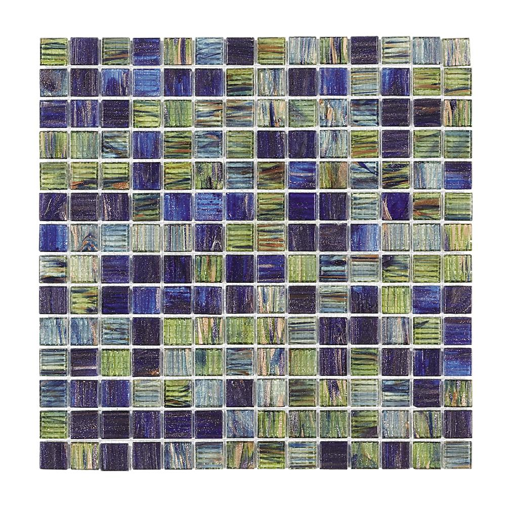 Jeffrey Court Vineyard 12 In X 12 In X 4 Mm Glass Mosaic Wall Tile Multi Green Blue Mosaic Wall Tiles Jeffrey Court Mosaic Glass