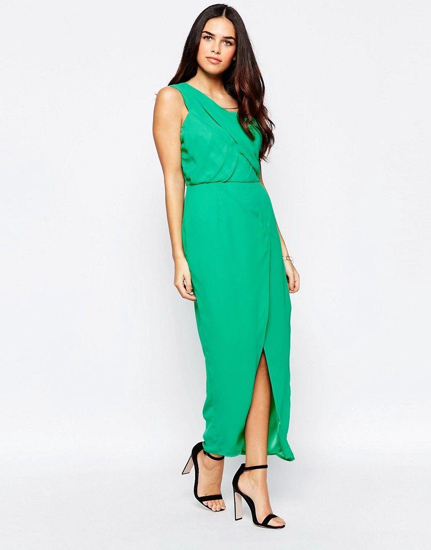 ca63fc83c8e955 VLabel Herne One Shoulder Dress With Split - Green