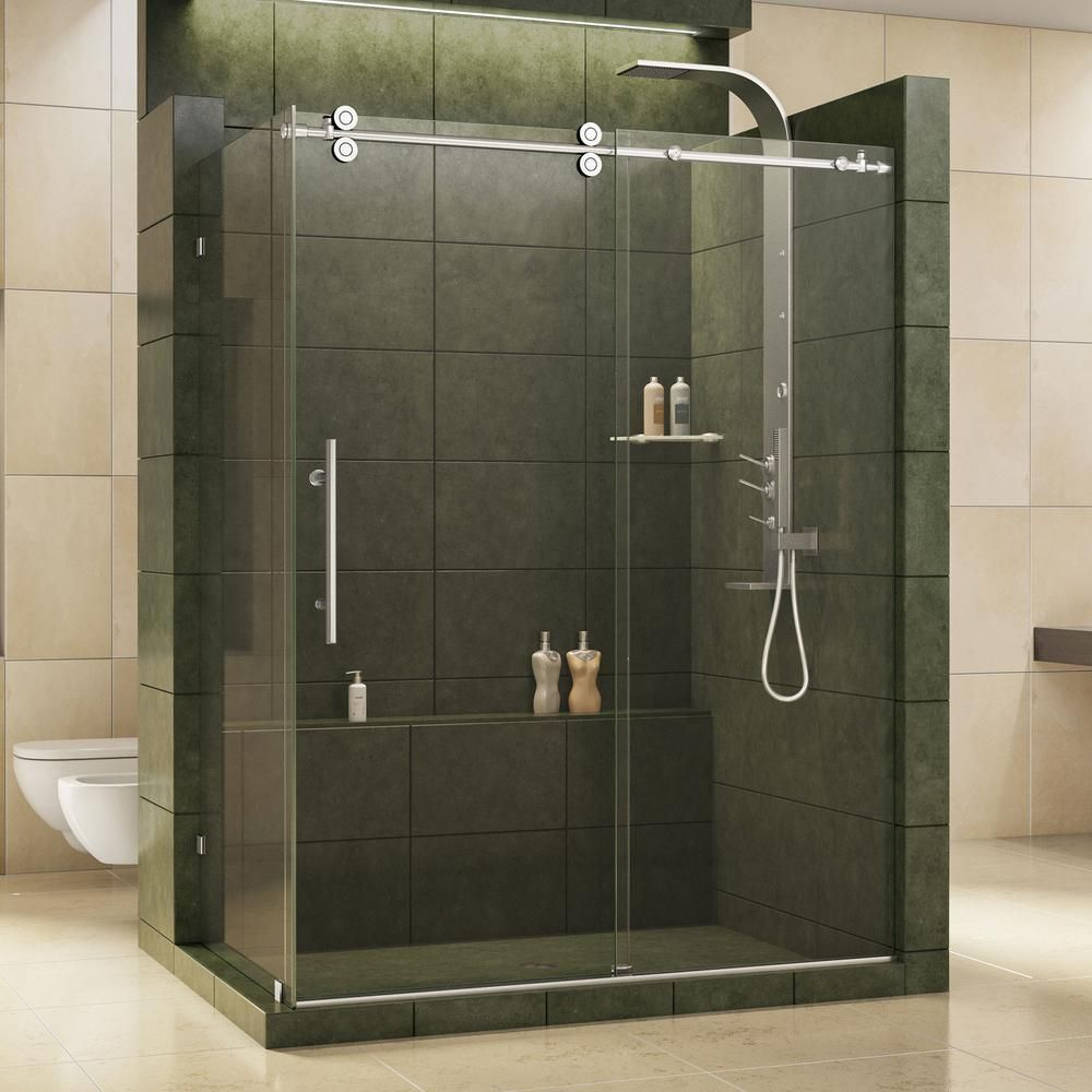 DreamLine Enigma 36 in. x 60-1/2 in. x 79 in. Frameless Corner Sliding Shower Enclosure in Brushed Stainless Steel-SHEN-60366012-07 - The Home Depot #framelessslidingshowerdoors