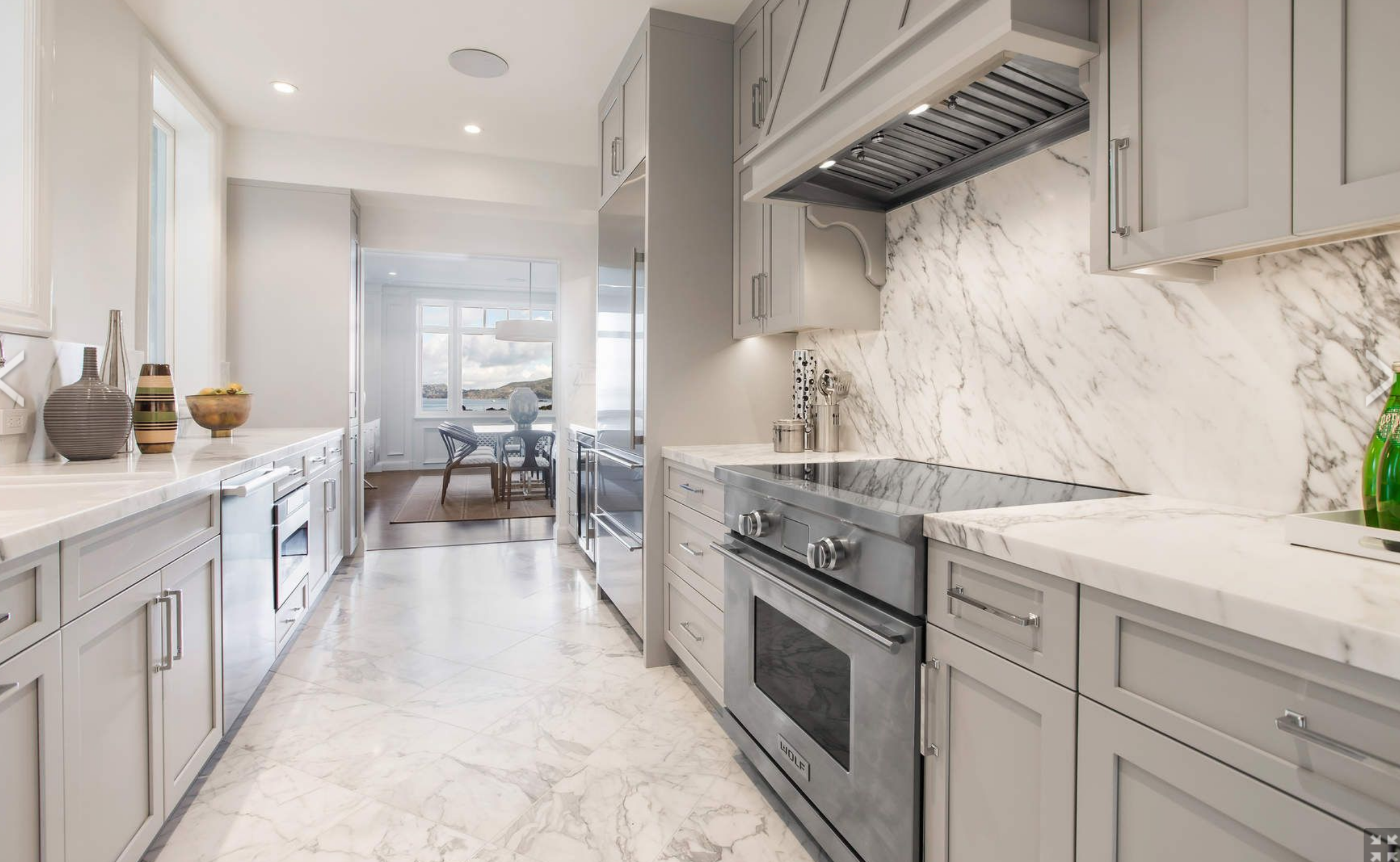 Vallejo Kitchen Very Pale Gray Cabinets With White Marble