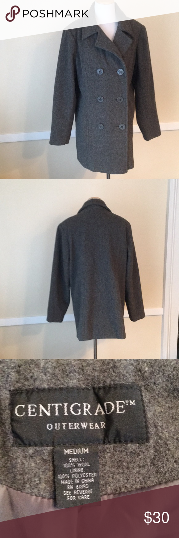 Centigrade Outerwear Ladies Wool Pea Coat In Med Wool Peacoat Winter Pea Coat Outerwear [ 1740 x 580 Pixel ]