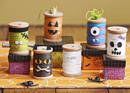 Sew Crafty Angel: Easy Halloween Spooky Spools and Pumpkins