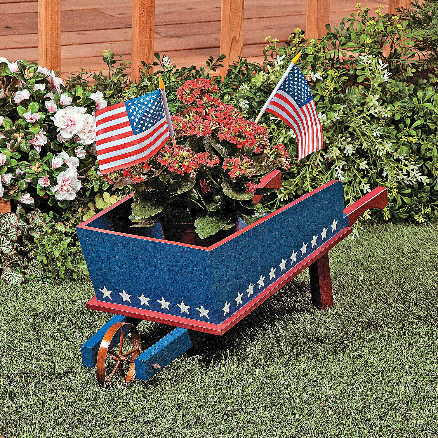 Red White Blue Wheelbarrow Wheelbarrow Yard Decor Porch Decorating