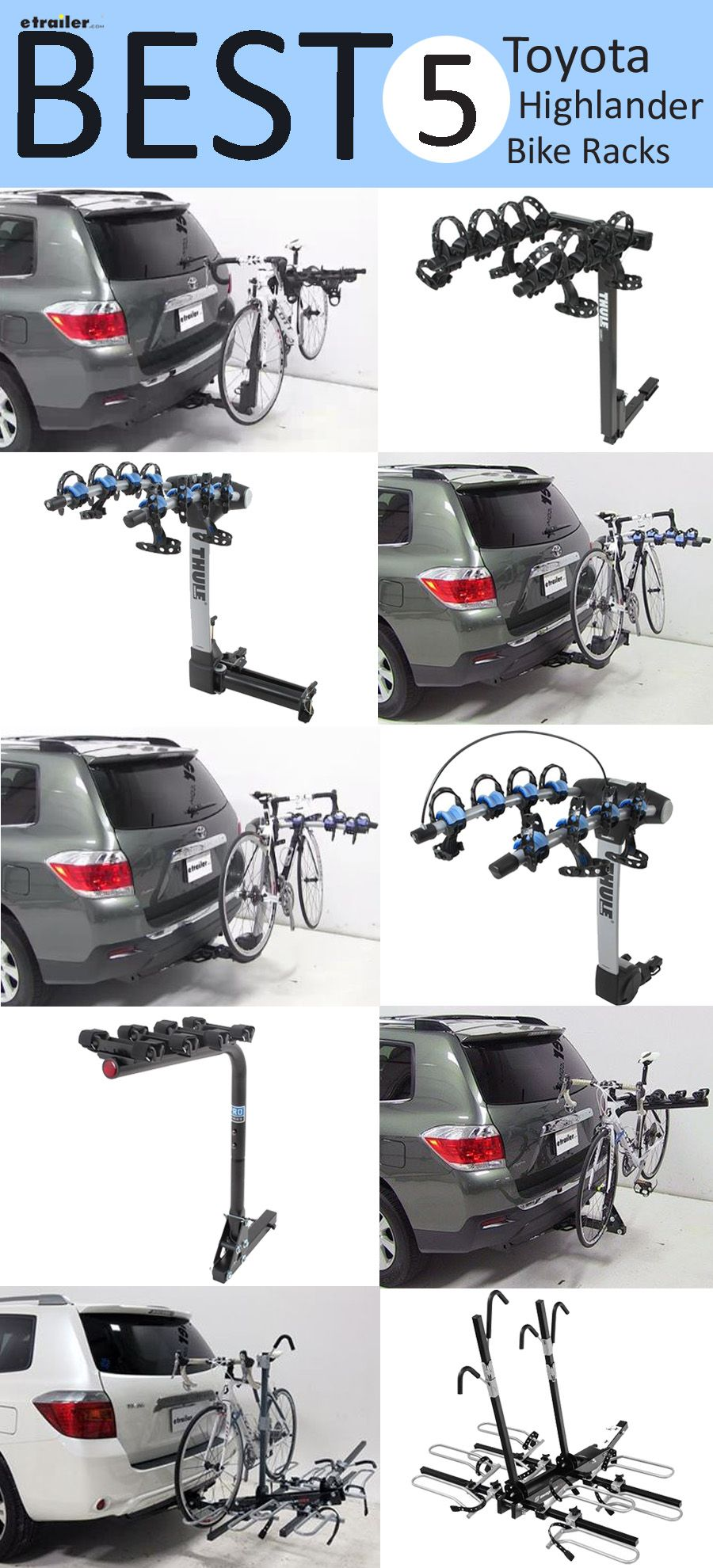 Best 5 Toyota Highlander Bike Racks Hitch Roof And Hatch