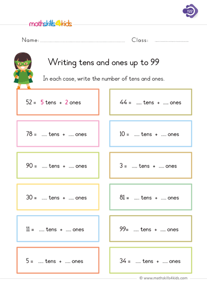 Writing Tens And Ones Up To 99 Place Value Worksheets 1st Grade Math Worksheets 1st Grade Math