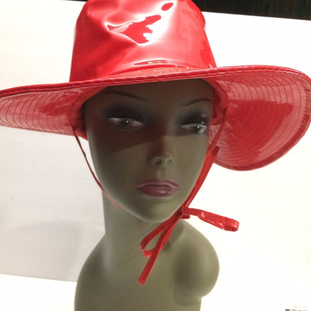 Vtg Womens Rain Hat Floppy L Red Vinyl Shiny Suzanne International Hong Kong   SuzanneInternational  WideBrim b38950d87ca0
