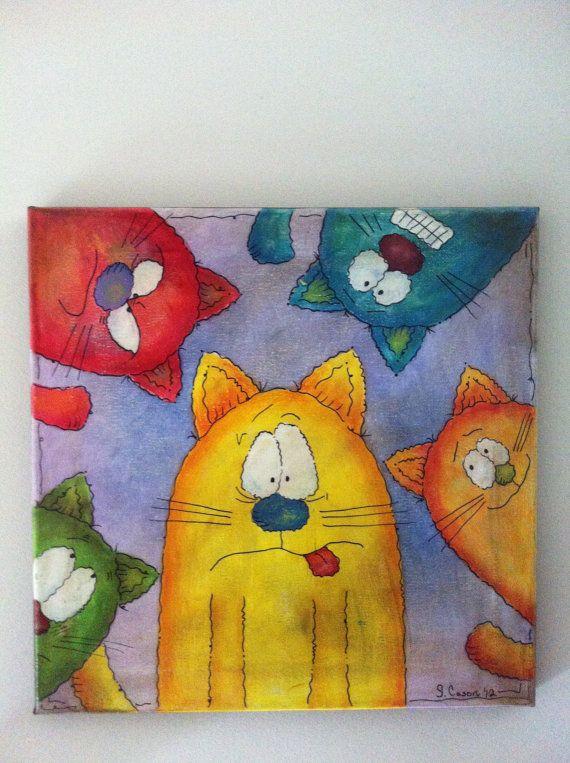 Five CatsOriginal acrylic painting on 12x12 by MakesMeLaughStudios