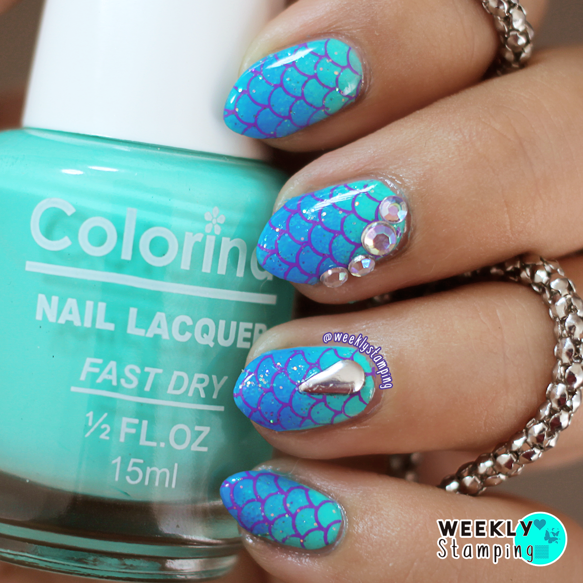 Nail Art Stamping: hehe 057. Mermaid Scales/Tail nails with Ombre ...