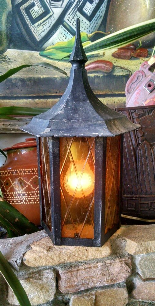 details about vintage arts crafts style porch wall light fixture old