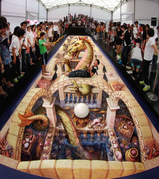 The Pavement Art and 3-D Illusions of Kurt Wenner, The former NASA space illustrator turned street artist uses innovative techniques that produce astounding three-dimensional images.