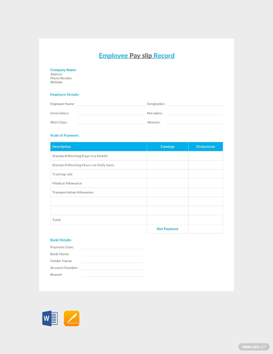 Free Employee Pay Slip Record in 2020 Templates