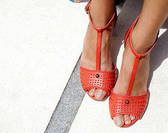 a058f95400f42 LOLITA. Red leather heels / t-strap heels / t-strap sandals / t ...
