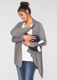 Dames zwangerschaps-/voedingsponcho lange mouw in grijs