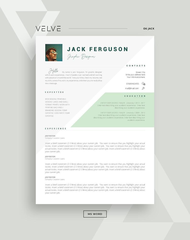 Resume Cv 3 Page Template Cover Letter Instant Download Etsy Cv Template Professional Cv Resume Template Page Template