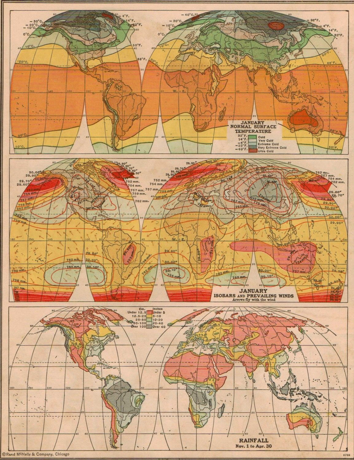 Vintage 1940s World Climate Map Via Etsy   With Images