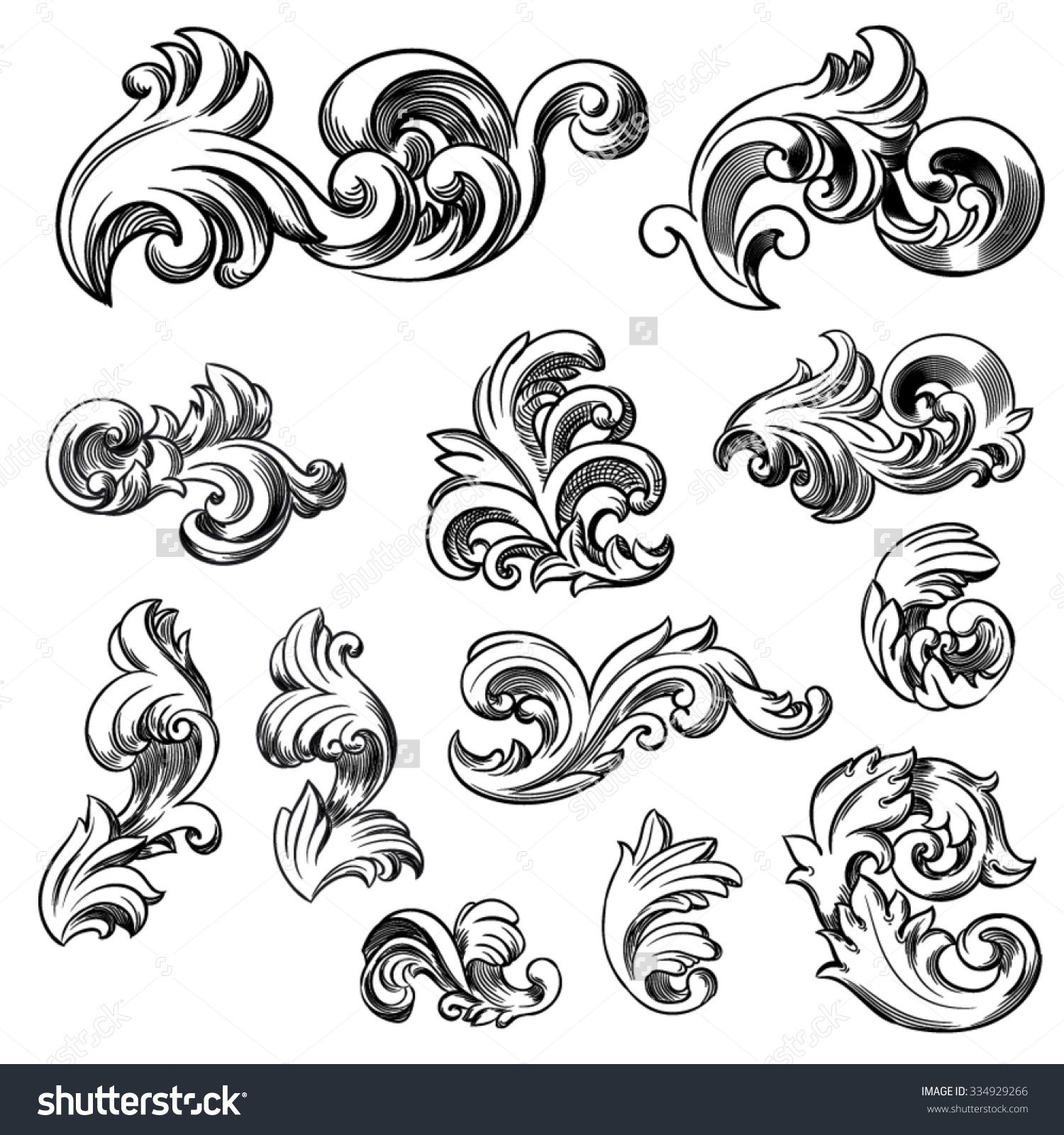 how to draw victorian scrollwork