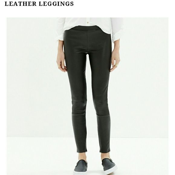 Madewell leather pull on pants leggings Super cool! They are made of buttery leather & lined inside with cotton & spandex. Pockets in the back to hide underwear line! :)  These are size 6, but I am listing them as an 8 b/c it runs big.  Please note: pants are wrinkled b/c they have been stored. It needs steaming, but I can't guarantee it will smooth out, b/c I've never steamed it before! Also, there is a rip on the bottom right ankle. I took a picture w/ a quarter for comparison.  All…