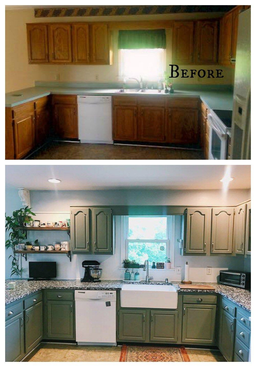 27 Inspiring Kitchen Makeovers Before and After - Kitchen renovation, Kitchen diy makeover, Home renovation, Home kitchens, Kitchen design, Kitchen remodel - I have a big blog post for your today! 27 Kitchen Makeovers! Before and afters  Majority are from YOU in our Facebook group  And I was so inspired going thru all of them  It is proof that something you might call a SCARY kitchen can be a space you love  Remember my friend's home with the Fireplace Makeover I recently decorated for Fall and at Christmas  Well today we get to see her kitchen  She is one of the 27 kitchens  I went and styled it and took photos  Below is here BEFORE…  And there are so much more too! See it all HERE