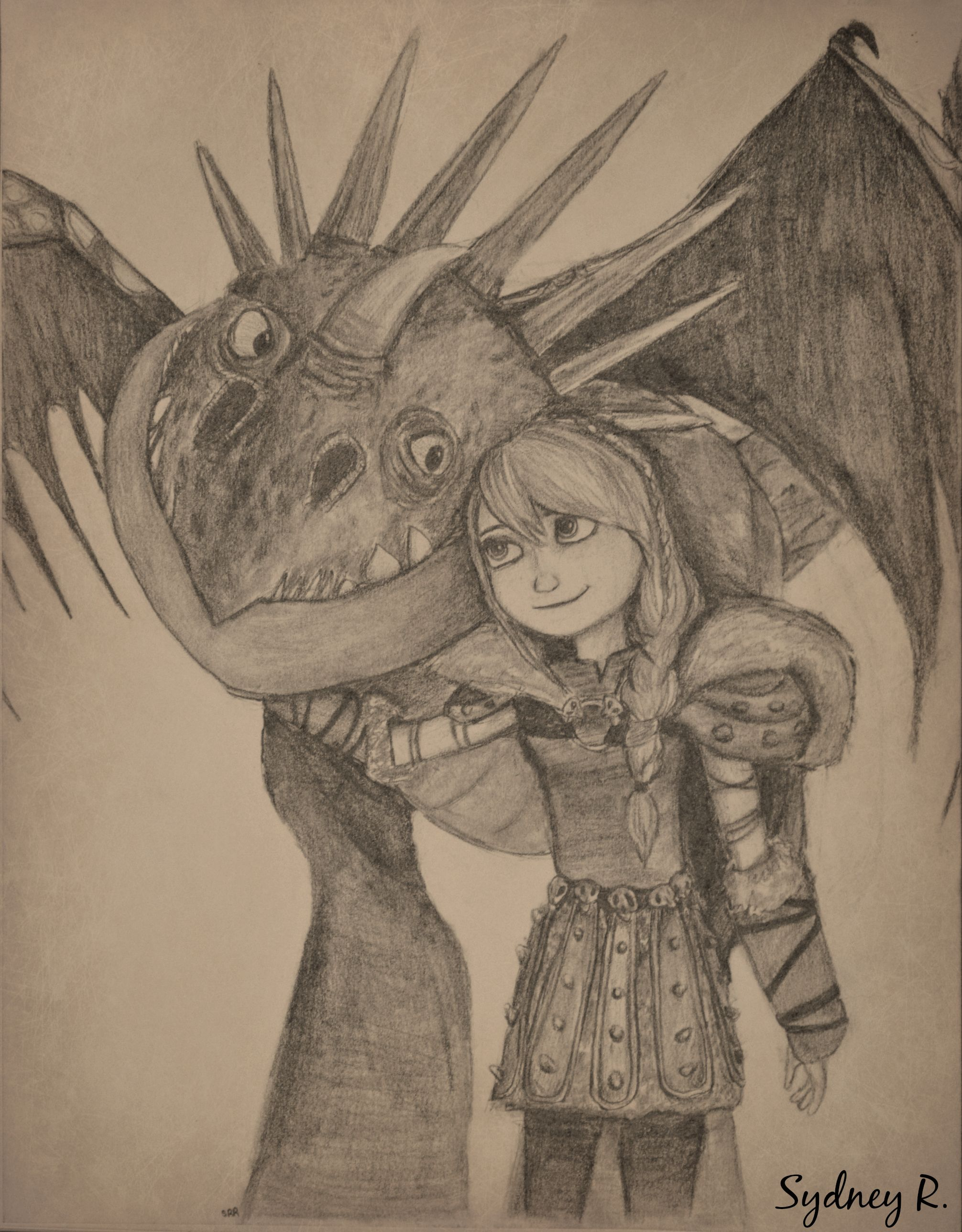 Ta-Da!  It's Astrid and Stormfly.  I've been working on this one for a while but I'm so pleased with the end result, and this is all done by free hand! :D