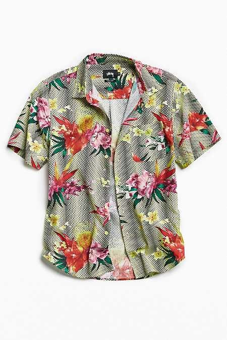 df7a5b5e7 Stussy Psychedelic Dot Floral Short Sleeve Button-Down Shirt | Style ...