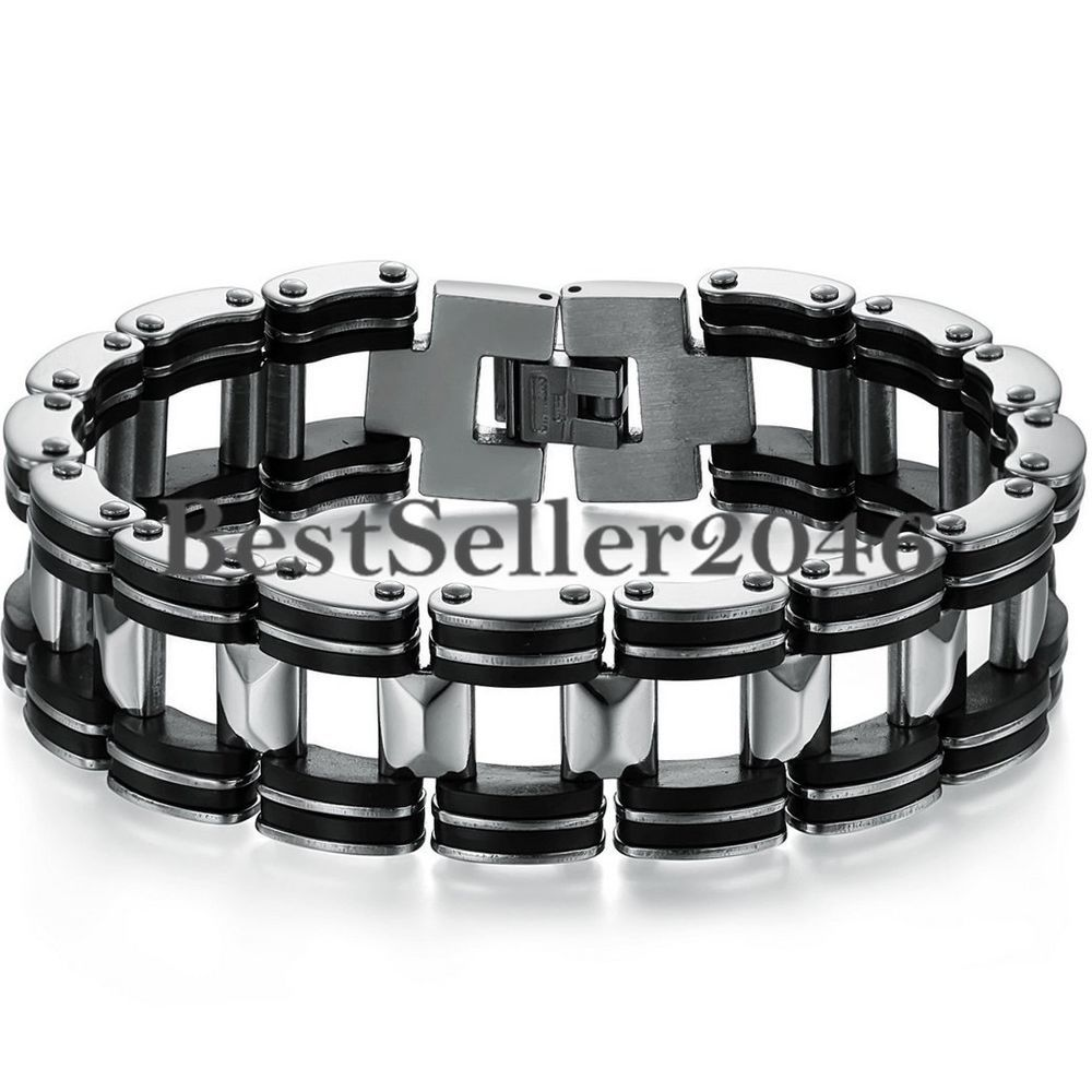Herren Edelstahl Gummi Armband Armkette Armschmuck Biker Motoradkette