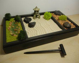 3 en 1 medium zen garden comprend paysage sableratisser rocaille et bassin - Jardin Japonais Miniature Cactus