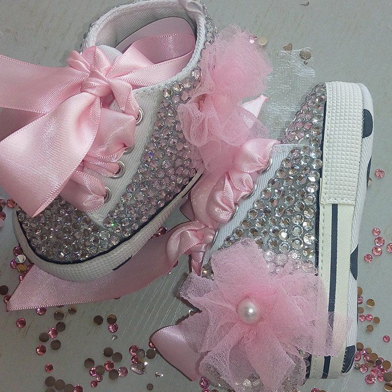Baby Bling Newborn Infant Baby Girl Pink High Top Tennis Shoe Booties 3a4eb07fcf14