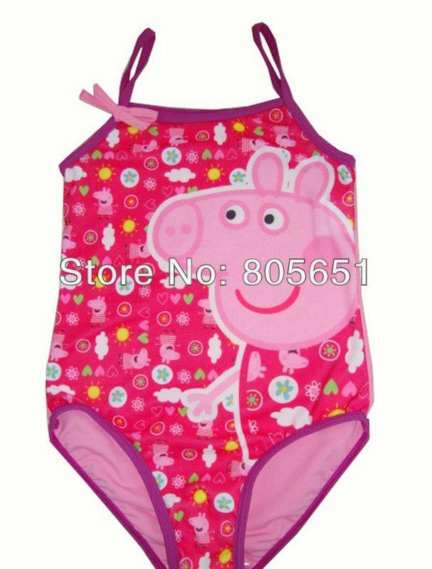 Retail Free shipping NEW Girls Baby Kids Peppa Pig Swimsuit Swimming Costume Tankini Swimwear 1-8Y Swimming Toddler One-Piece