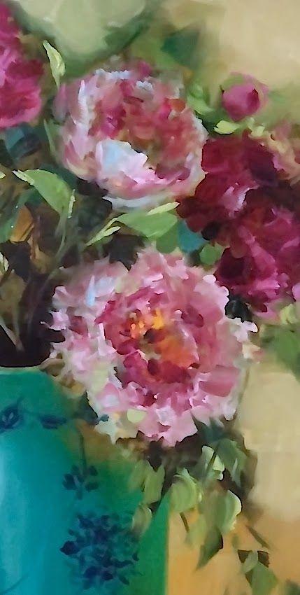 Cascade Peonies 16x20 Oil Www Nancymedina Com Floral Painting