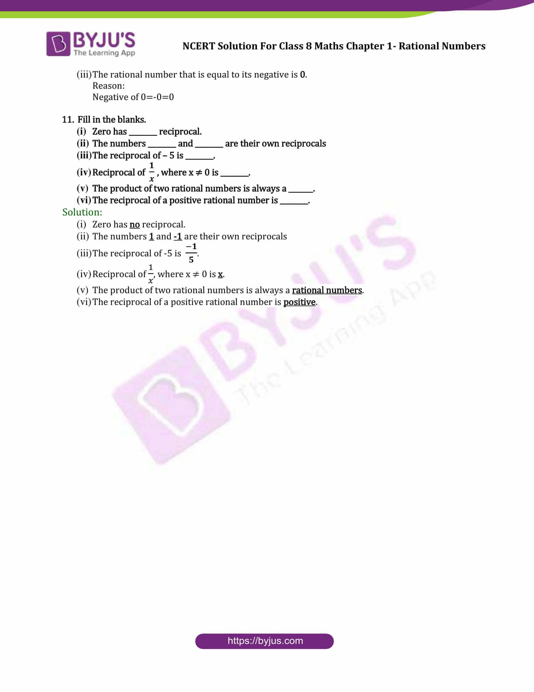 Ncert Solutions For Cbse Class 8 Chapter 1 Rational Number