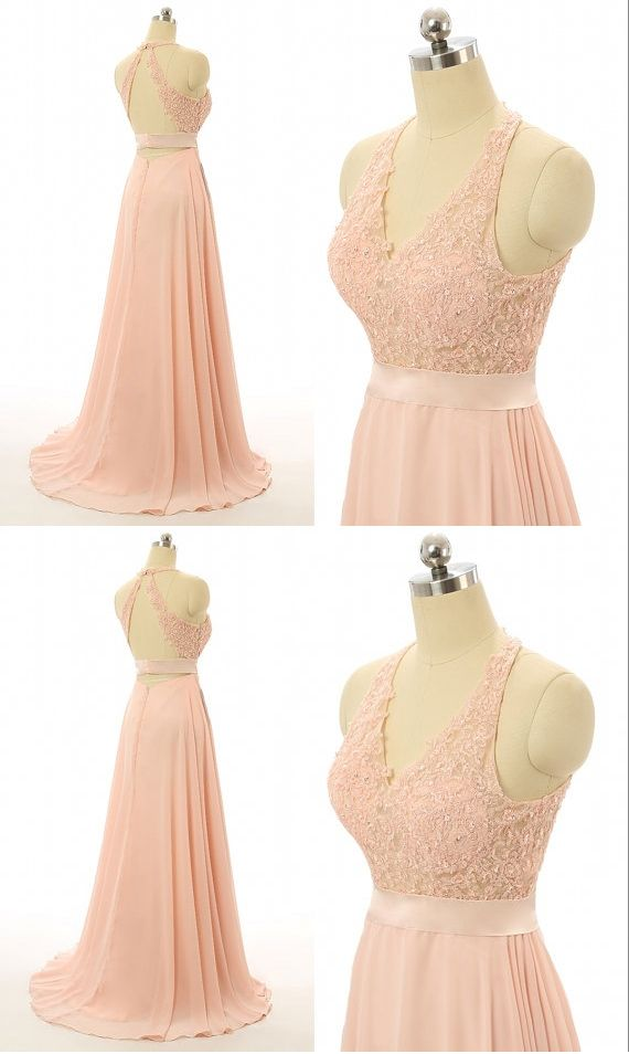Peach bridesmaid dresses, Lace bridesmaid dresses, backless ...