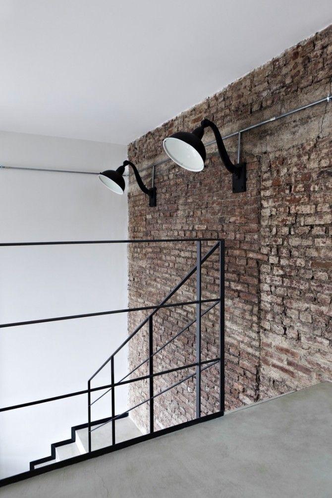 Brick Wall Concrete Floor Industrial Interior Design Industrial House Industrial Interiors