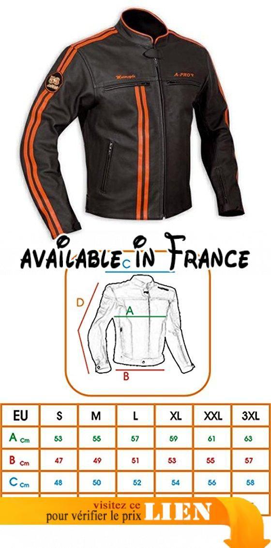 fcc804f692f Blouson Cuir Homme Motard Moto Protections CE Veste Doublure Thermique  Orange S. Blouson moto en
