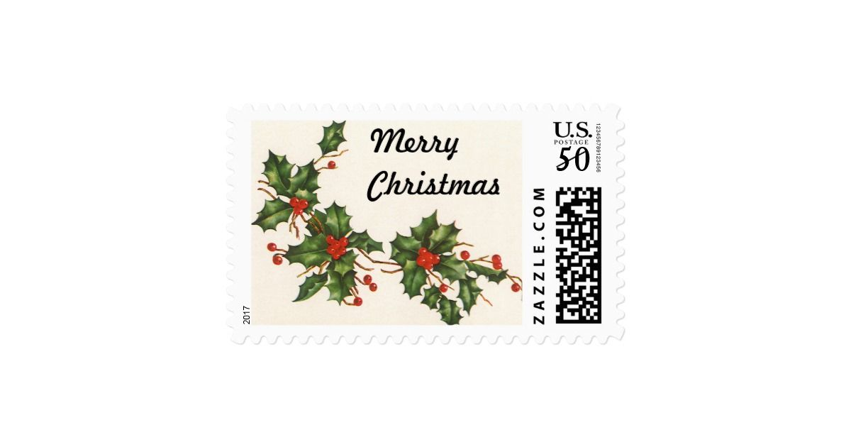 Vintage Christmas, Holly Plant with Red Berries Postage Holly