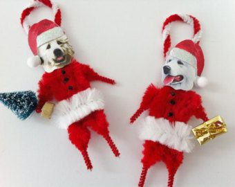 GREAT PYRENEES Santa Claus vintage style CHENILLE Ornaments set of 2 feather tree