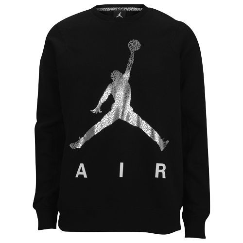 5da480621105 Jordan Jumpman Air Fleece Crew - Men s - Basketball - Clothing -  Black Silver White