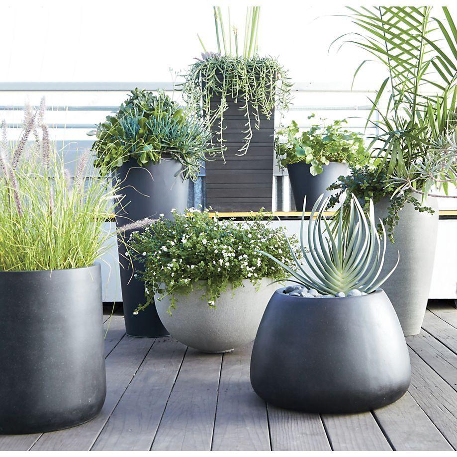 zinc large floor planter from crate and barrel wanelo home finds pinterest planters crate. Black Bedroom Furniture Sets. Home Design Ideas