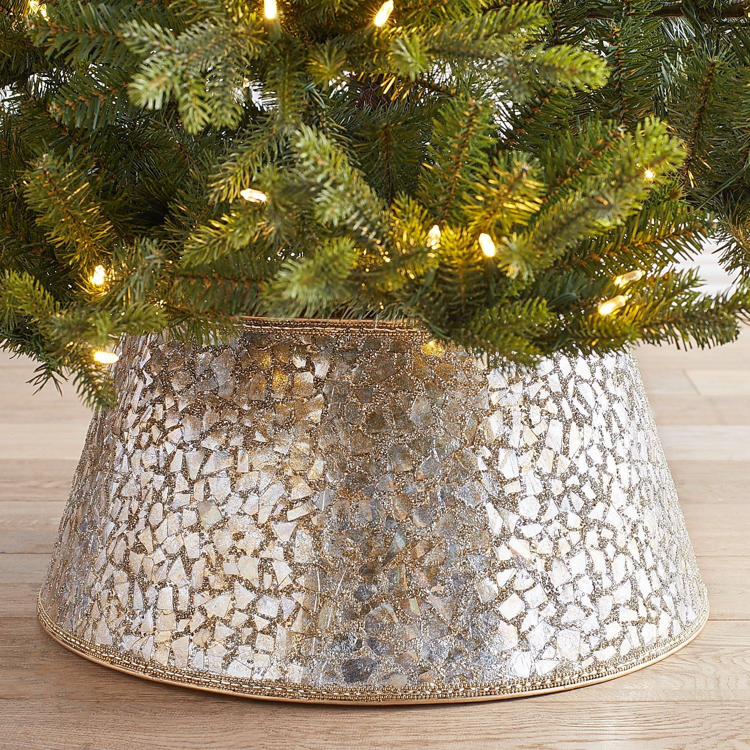 Ditch The Tree Skirt And Get A Tree Collar This Year Southern Living Rose Gold Christmas Tree Metal Christmas Tree Gold Christmas Tree
