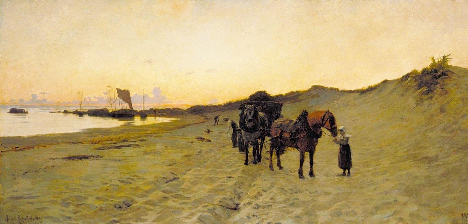 """Howard Russell Butler 1856-1934 Américain """" Les Ramasseurs de varech près de Concarneau """" 1886"""