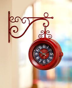 Vintage Scrolled Metal Hanging Clocks Train Station Style Double Sided