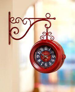 vintage scrolled metal hanging clocks train station style double sided clocks hanging clockclock wallclock